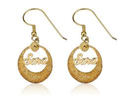name earrings sparkling name earrings with circle fashion jewelry