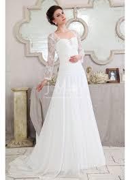 Wedding Dresses With Sleeves Uk Line Chiffon Lace Long Sleeve Beach Ivory Wedding Dress