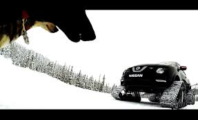 nissan leaf in snow juke nismo rs with snow tracks races huskies in lapland
