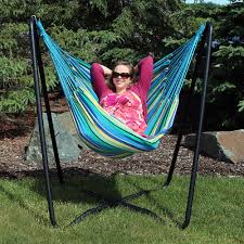 Hammock Chair C Stand Sunnydaze Hanging Hammock Chair Swing With Space Saving Stand