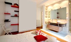 salle de bain dans la chambre aménagement salle de bain ouverte vasque bois creusé et gré cérame 75020