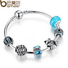 heart charm bangle bracelet images Bamoer silver charm bangle with bear animal open your heart jpg