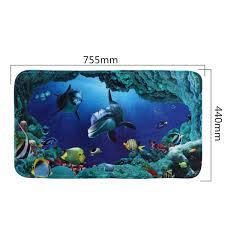 Dolphin Rugs 3pcs Set Blue Shark Deep Sea Dolphin Bath Bathroom Non Slip