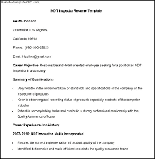 Health Inspector Resume Ndt Resume Sle 53 Images Qc Inspector Resume And Gas Ebook