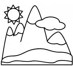 Coloriage Montagne facile dessin gratuit à imprimer