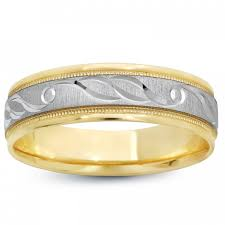 gold mens wedding band two tone engraved design 14k gold s wedding bands