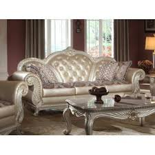 Formal Sofas For Living Room Esofastore Formal Living Room Gold Accents Pearl White Finish 3pcs