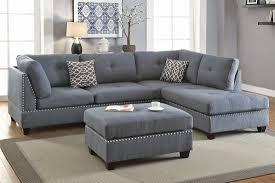 Gray Linen Sofa adnus grey linen sectional sofa