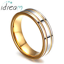 two tone wedding rings two tone tungsten wedding bands gold plated tungsten carbide