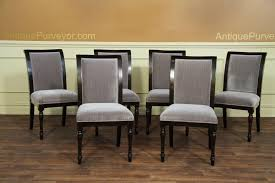 Quality Chairs 6 High Quality Solid Walnut Dining Chairs Grey Upholstery