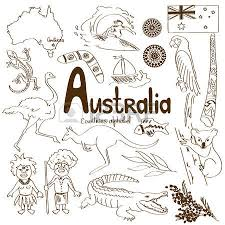sketch collection of australia icons countries alphabet royalty