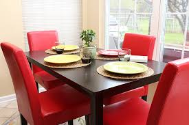 amazon com 5 pc red leather 4 person table and chairs red dining