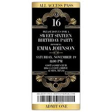 sweet 16 invitations deco glitzy ticket sweet 16 invitations paperstyle