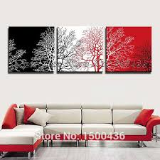 canvas decorations for home hand painted abstract trees oil paintings 3 piece modern art black