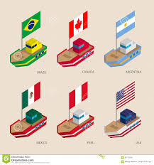 Us Navy Signal Flags Isometric Ships With Flags Canada Usa Argentina Peru Brazil