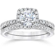 white gold wedding ring sets 5 8 carat cushion halo diamond engagement wedding ring set white gold