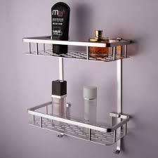 Wall Storage Shelves Bathroom Aluminum Storage Shelf Basket With Hooks Wall Mounted