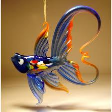 blue hanging glass fish ornament glasslilies