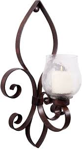 Fleur De Lis Wall Sconce Glassware Fleur De Lis Motif Bronze Metal Candle Holder Large