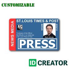 press pass for journalists ships same day from idcreator