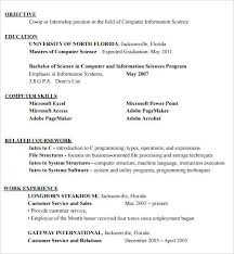 Format Of Resume For Internship Students Sample Resume For Computer Science Student Resume Format For