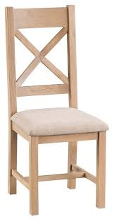 Cross Back Chair Oxford Oak Cross Back Chair With Upholstered Pad