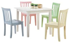 5 piece white yellow pink blue green square youth table chair set