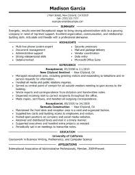 Resume For Receptionist No Experience Resume Sample For Receptionist Resume Example Sample Resume