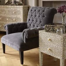 French Style Armchair Grey Velvet Buttoned Upholstered Armchair U2013 Allissias Attic