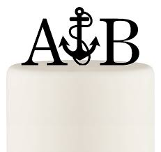 initials monogram personalized anchor with rope nautical monogram wedding cake topper