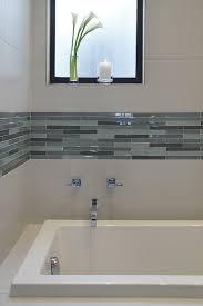 Blue Glass Tile Bathroom - mosaic tile accent band bathroom contemporary with blue glass tile