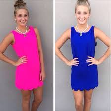 coral blue pink or black scalloped shift dress s m l from