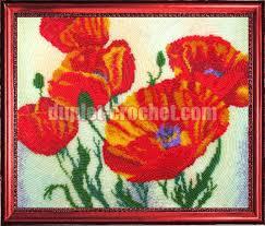 poppies bead embroidery kit diy bead on needlepoint kit diy beadpoint
