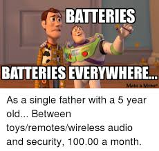 Single Father Meme - batteries batteries everywhere make a meme as a single father with