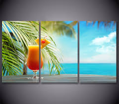 popular tropical beach art buy cheap tropical beach art lots from 3piece canvas poster and prints fruit drink painting tropical beach seascape canvas art pictures painting home