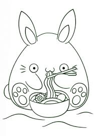 kawaii bunny eats noodle coloring free printable coloring pages