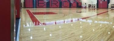 screening a hardwood floor screen and recoat wood gym floor or basketball court varnish