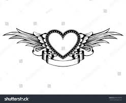 abstract vector illustration frame heart wings stock vector