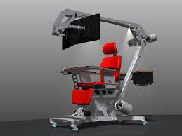 furniture futurism computer gaming desk and chair using red seat