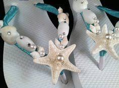 seashell flip flops flip flops ribbon seashells gems and pearls flip flops