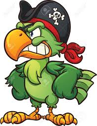angry pirate parrot vector clip art illustration with simple