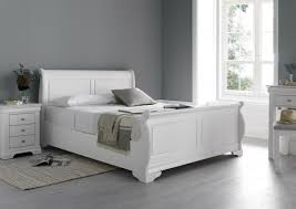 White Sleigh Bed Louie Polar White New Wooden Sleigh Beds Wooden Beds Beds