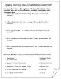 Speed Velocity And Acceleration Worksheet With Answers Speed Velocity And Acceleration Engaging Cut And Glue Worksheet