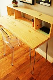 Build A Wood Desk Top by How To Build A Contemporary Desk With Shelf And Hairpin Legs