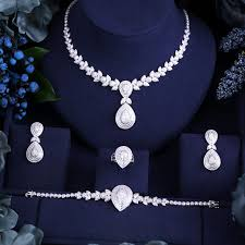 aliexpress necklace set images Janekelly luxury cubic zirconia necklace bracelet earrings and jpg