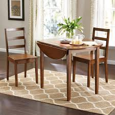 Small Table And Chairs For Kitchen Mainstays 3 Piece Drop Leaf Dining Set Medium Oak Finish