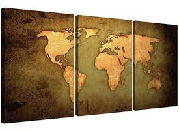 Large Vintage World Map by Vintage World Map Canvas Art Set Of Three For Your Study Large