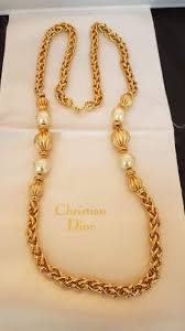 long vintage necklace images Christian dior stylish gold tone faux pearl long necklace jpg
