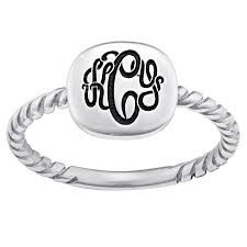 monogram signet ring sterling silver square monogram signet ring 41282 limoges jewelry