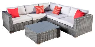 Wicker Sectional Patio Furniture by Francisco Outdoor 6 Piece Wicker Seating Sectional Set With